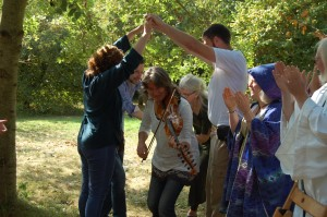 The handfasting was blessed with Kirsten's music
