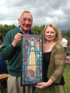 John Ahearn & Cait Branigan with image of Srt.Brigit at the Eigse Gathering 2016