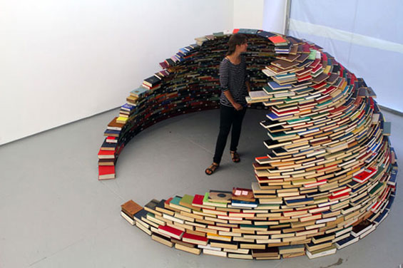 'Home', a book igloo held together by natural forces, created by Columbian artist Miler Lagos.